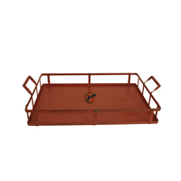Red Decorative Rectangular Serving Tray With Handles