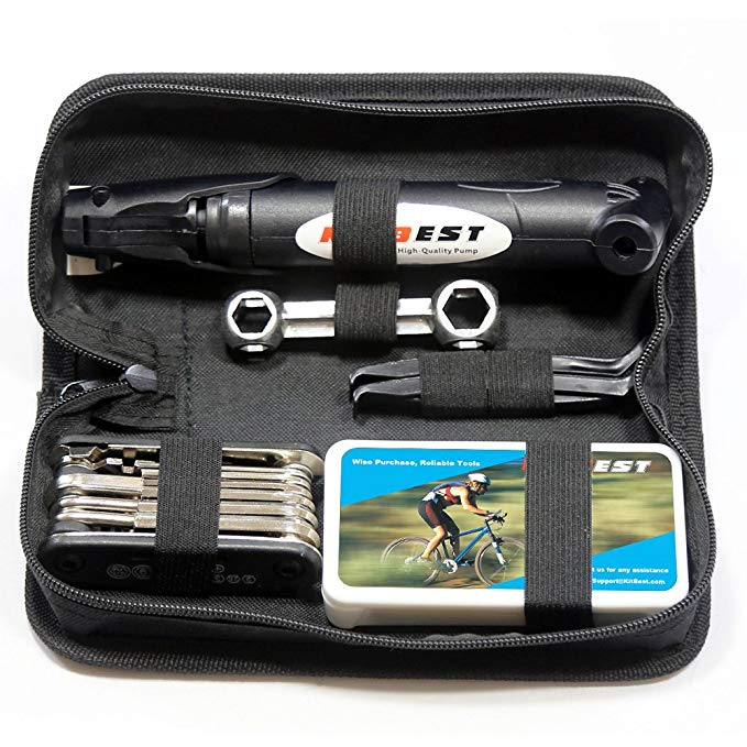 Mini Bike Repair Tool kit Pouch Bicycle Essential Multi Tools Set Bag with Webbing