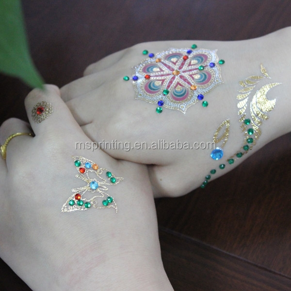 fake diamond gold temporary tattoos