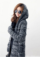 2015 winter thick latest ladies hooded cardigan knitting pattern