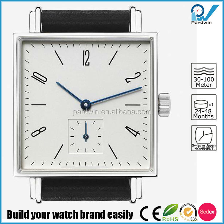 Polished square Stainless steel watch sapphire crystal glass watch with double genuine leather watch