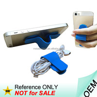 Custom logo earphone cable winder silicone smartphone holder