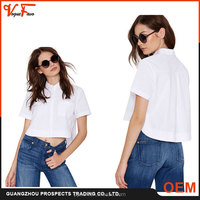 2016 summer Hot Sale latest Fashion design shite short Sleeve Lady Blouse for women