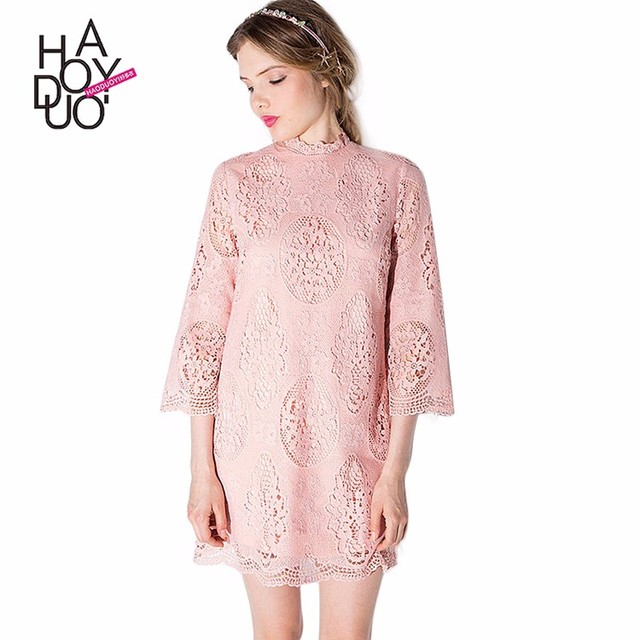 HAODUOYI Hot Sale Women Pink Lace Half Sleeve A-Line Casual Dress for Sale