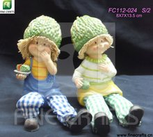 Resin harvest festival sitting cute doll craft decoration with trousers