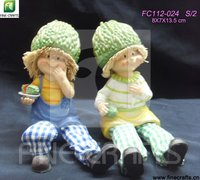 Resin sitting doll with trousers craft decoration