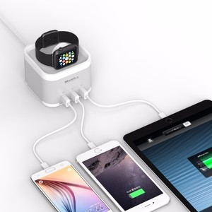 Aluminium Housing Classy and Sleek USB Desktop Charger with Charging Holder For Apple Watch and Cell Phones