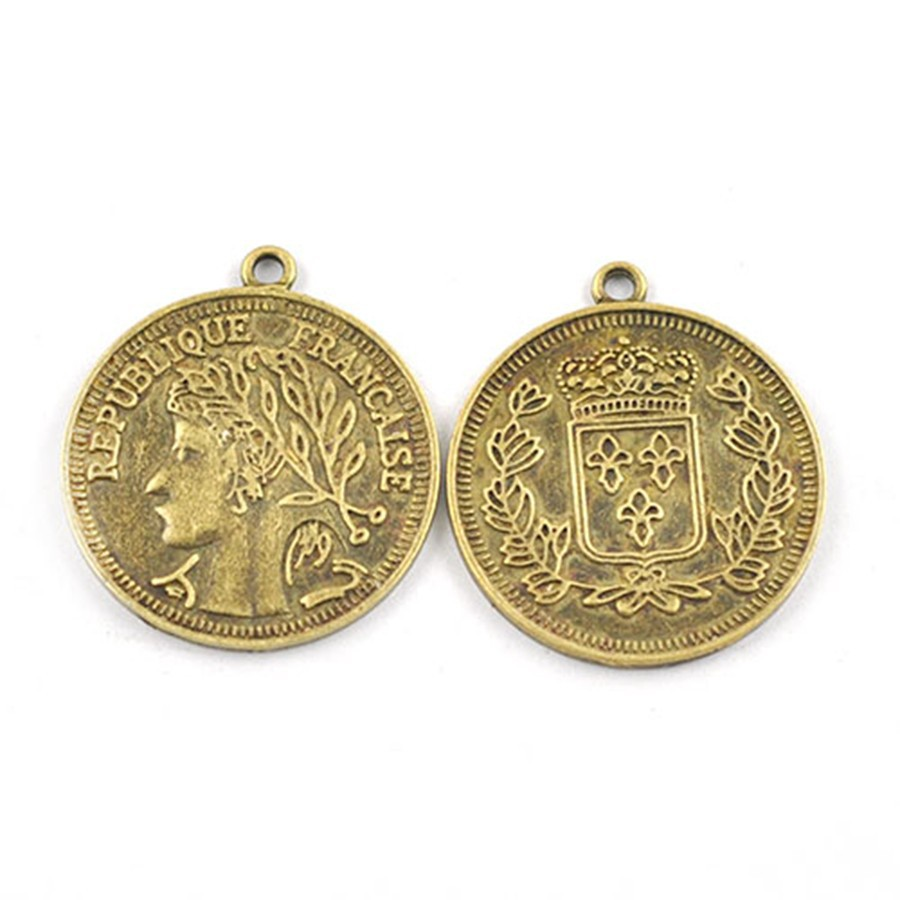 Pendan, Stunning Alloy Coin Charm Personage Jewelry A20720 Fashion Gold Necklace Pendant