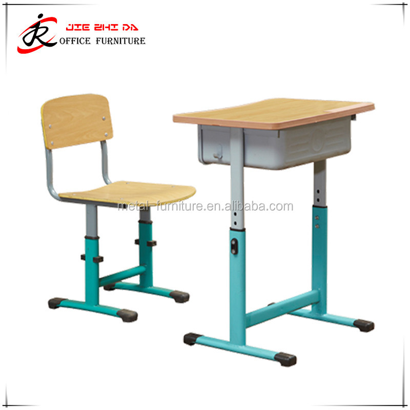 wholesale china supplier student classroom furniture metal adjustable school desk and chair for sale