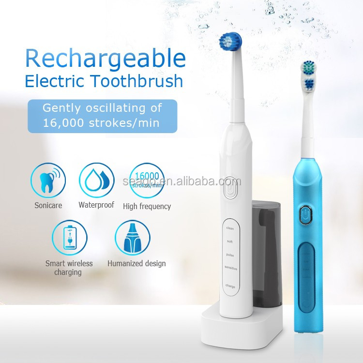 SG913 with 2 PCS toothbrush head holder Rechargeable Rotary electronic toothbrush
