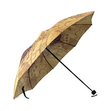 Custom Printing Unique Design Vintage Marauders Map Folding Rain Umbrella/Parasol/Sun Umbrella