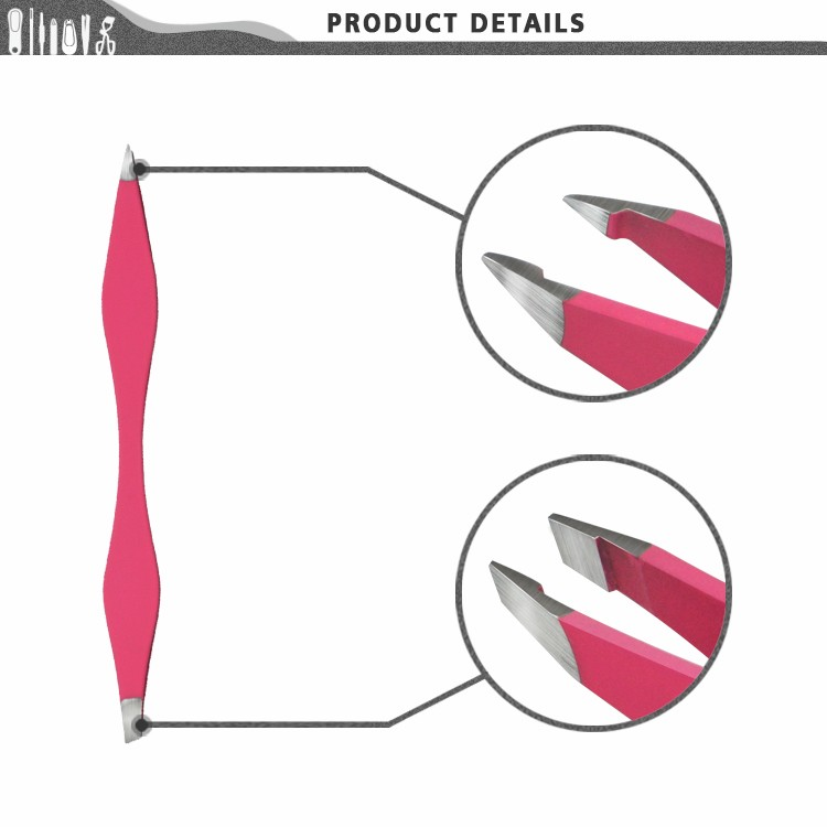 BTZ0175 Pointed and Slanted Double end Stainless steel soft touch eyebrow tweezers