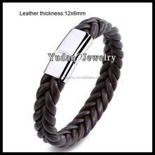 2017 Hot Sale Brown Genuine Leather Bracelet With Stainless Steel Magnetic Clasp
