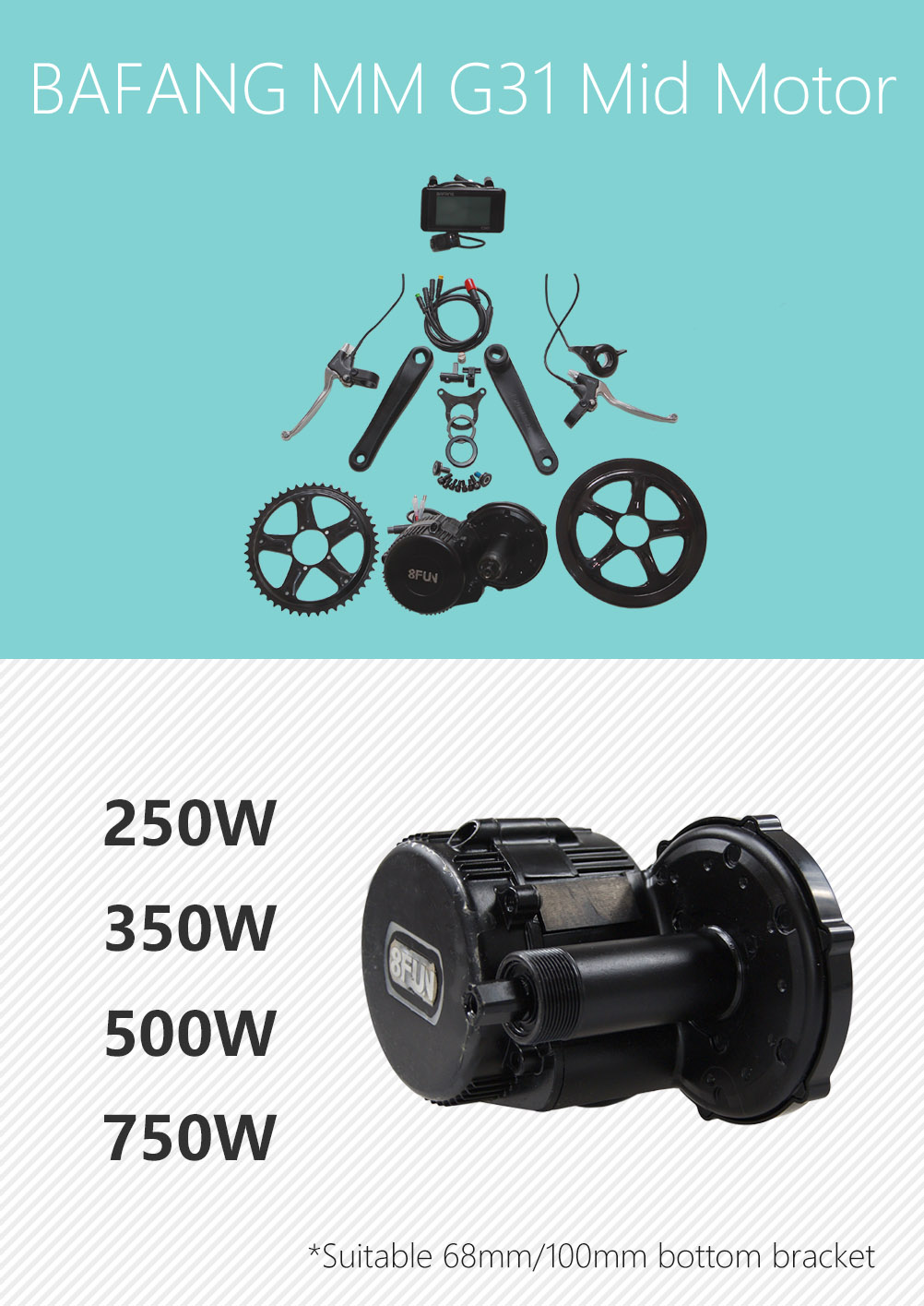 Factory Supplier 8fun bafang bbs01 mid mount motor 36v 250w central drive electric bicycle kit waterproof BBS01