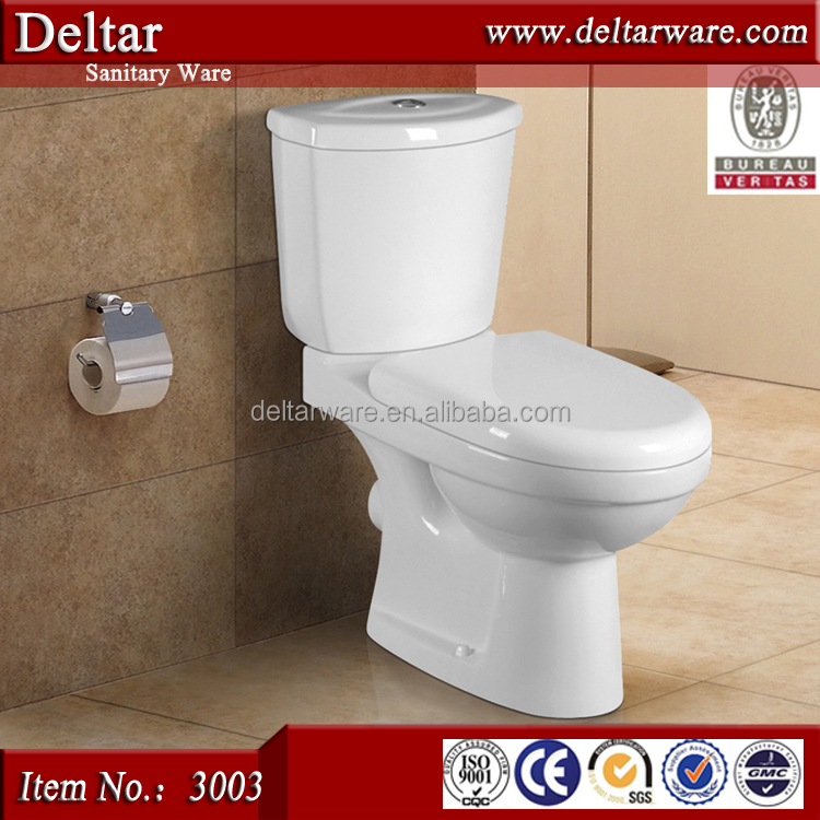 Export to Ghana two piece wc toilet , soft close seat cover close couple toilet wc