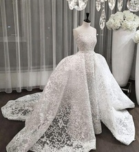 Dubai Style Wedding Dress 2018 Mermaid Lace Pattern Wedding Gown with Princess Big Train