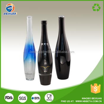 Empty white spirit glass bottles black FROSTED glass bottle xxx rum PAINTED glass bottles