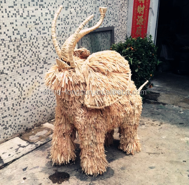 LSD1104011 China manufacturer export artificial grass animal ornamental elephant plastic animal topiary