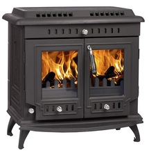 2017 New Design Cast Iron Multi Fuel Smokeless Double-Door Matt Black Paint Wood Burning Stove For Sale