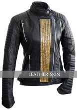 New Fany Gold Stars Punk Women Ladies Black Brando Genuine Leather Jacket w Quilted Lining & Padded Shoulders Sleeves 2014