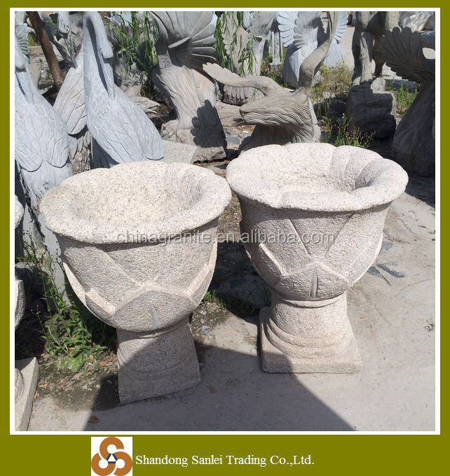 garden stone carved flower pot