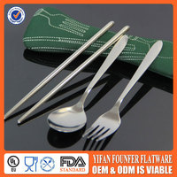 Travel fork spoon chopsticks set in pouch camping cutlery