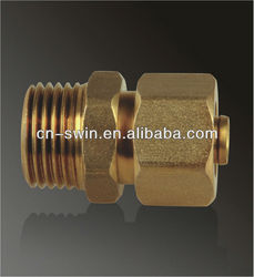 Swin high quality pe-al-pe composite pipe fittings brass male thread union/nipple male/straight male connector