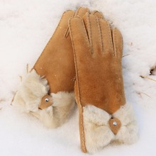 Fashion Genuine Leather Gloves With fur Cuff orange leather gloves