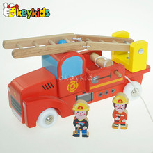 2016 wholesale wooden fire truck toy, lovely wooden fire truck toy, best wooden fire truck toy W04A185