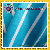 100% cotton poplin white and blue stripe fabric