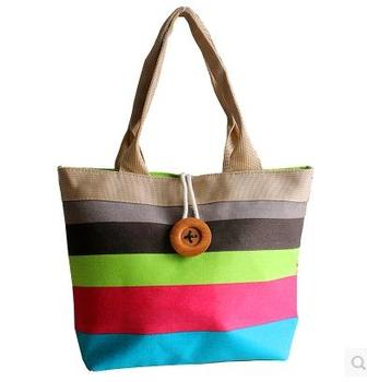 Casual large capacity canvas bag color stripe beach bag