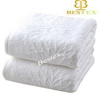 Luxury hotel Customize logo Embossed Jacquard woven terry bath towel