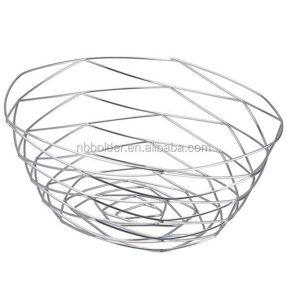 Free standing kitchen metal wire fruit egg bread basket bowl with plating finish for home decoration