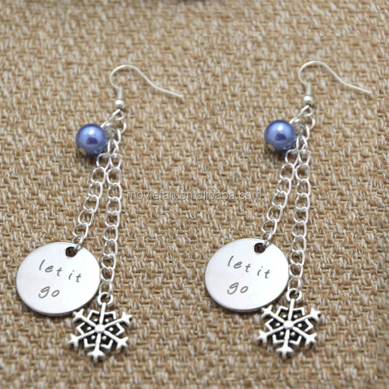 Let It Go earrings gift earrings Big snowflake charm Elements Crystal earrings