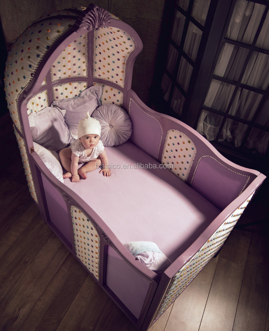 Modern Baby Wooden Cot Bed Adjusted Purple Custom Made