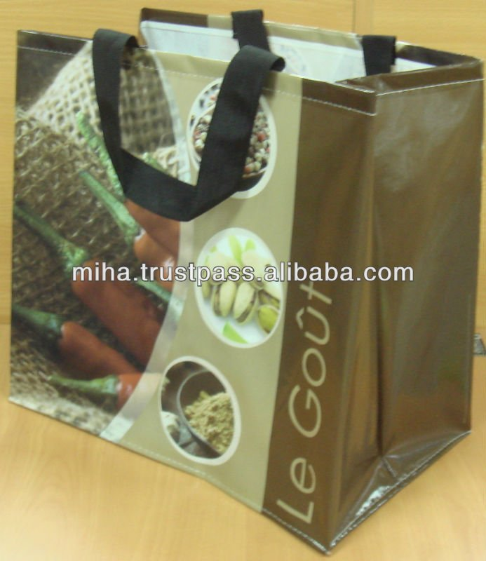 Recycled and environmental friendly R-PET shopping bag