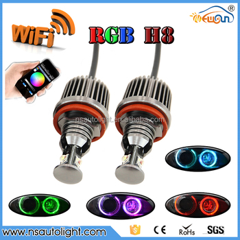 rgb wifi controller led headlight bulb h8 36w led marker wifi h8 rgb led angel eyes