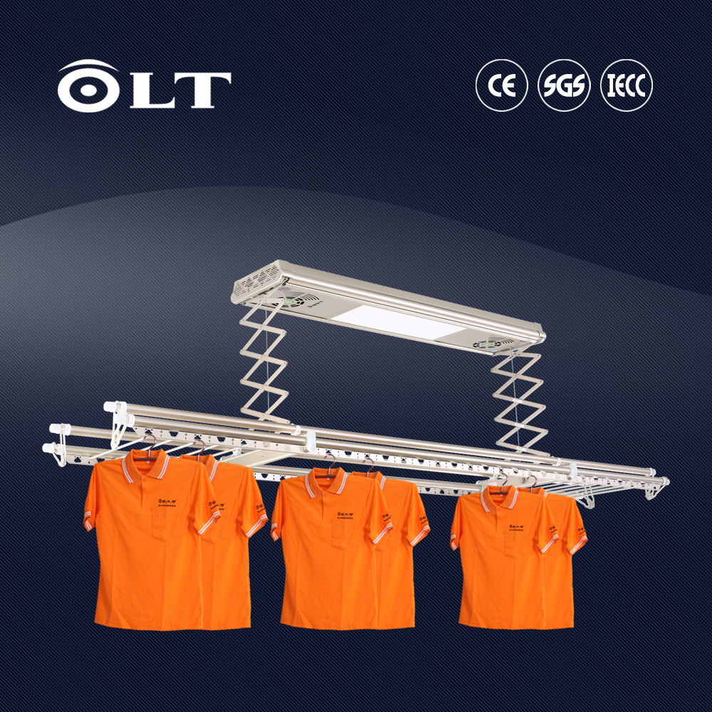 Automatic clothes drying rack, clothesline for balcony furniture with fan and panel lights