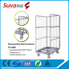 supermarket roll cages warehouse logistics storage nesting steel wire mesh roll cage for sale