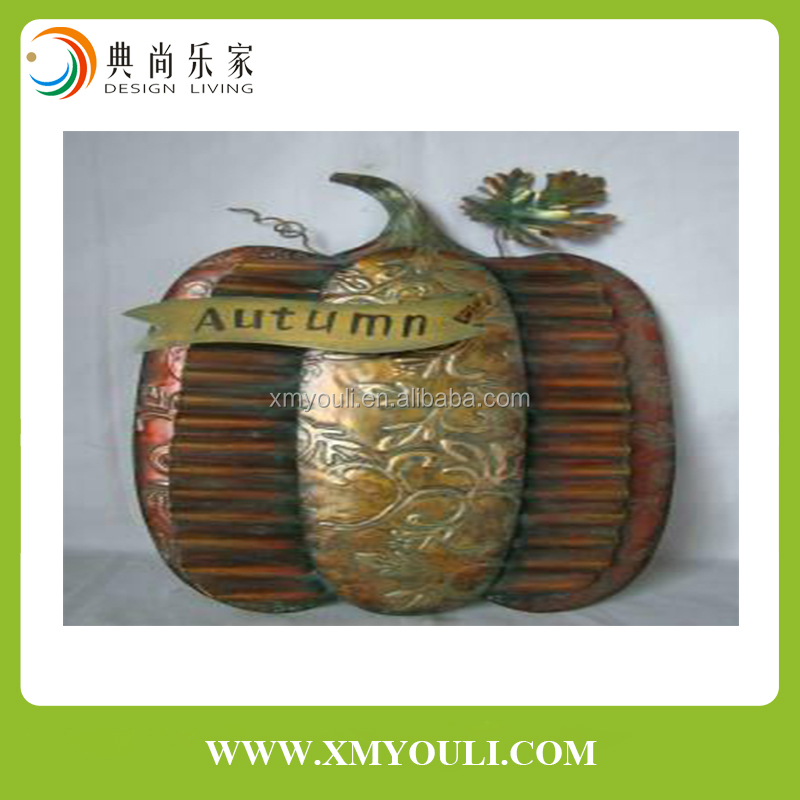 Metal Pumpkin Wall Hanging Home Decorations for Harvest Festival