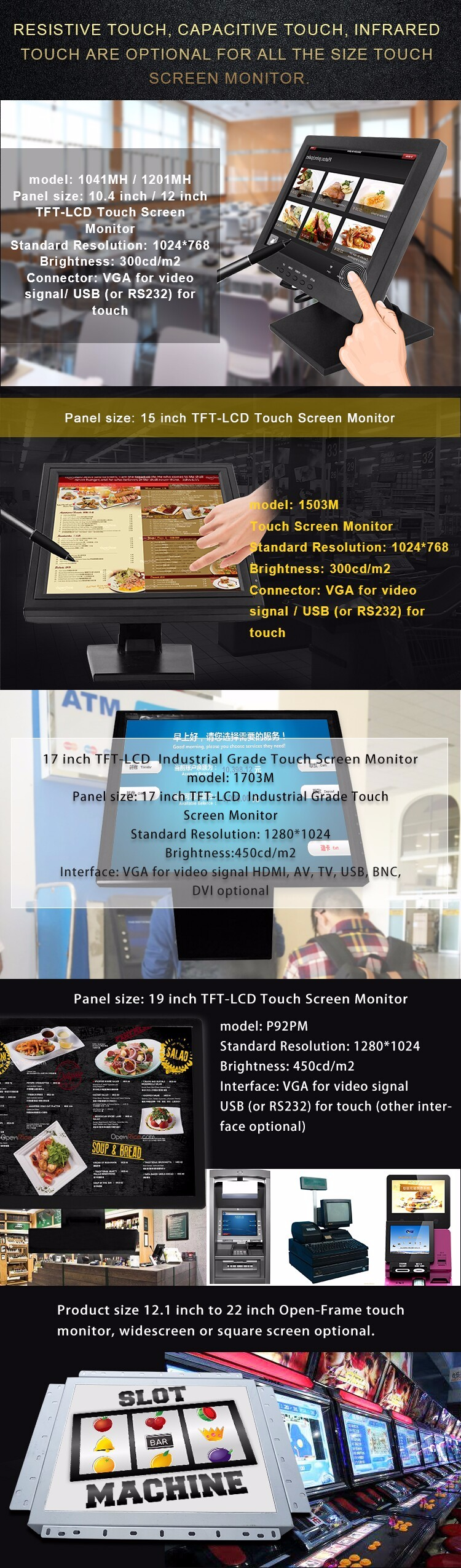 Best offer 15 inch professional pos use industrial touch screen monitor