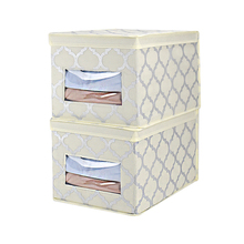 foldable large woven paper cube bin with lid Storage box