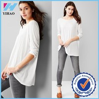 Yihao fashion Three-quarter length sleeves tunic tops Boatneck china top ten selling products