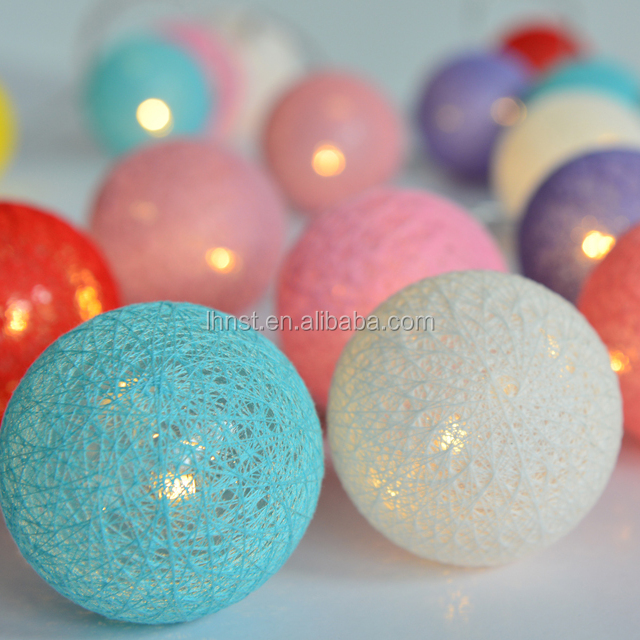 6cm outdoor cotton ball led string lights 5m 20leds fairy christmas l& home wedding party decoration & 5m led christmas ball lights_Yuanwenjun.com