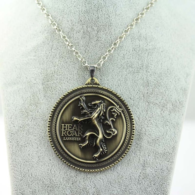 "8 styles HBO Game of Thrones necklace House Stark Winter Is Coming Bronze 2"" Metal Family Crest pendant jewelry souvenirs"