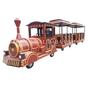 Outdoor amusement park equipment electric trackless train rides for sale