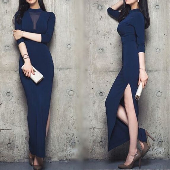 d82321f 2016 korean slim elegant long evening dress