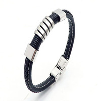 Custom bracelet wholesale 316L stainless steel fashion bangles jewelry Bracelet Leather