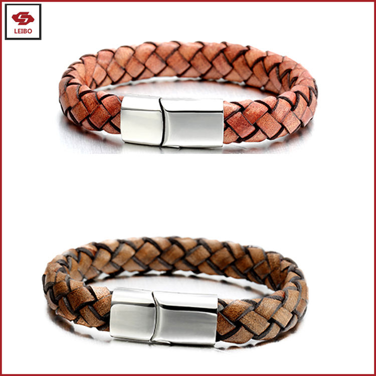 women magnetic buckle bracelet men braided leather waistband boys magnetic buckle leather bangle men leather cuff
