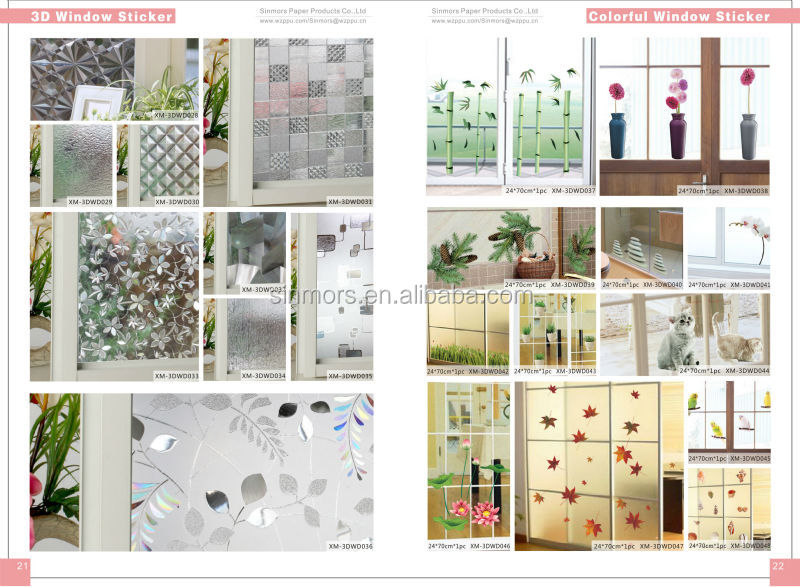 Hot Sale Waterproof Removable Green Leaves Sticker For Glass Door